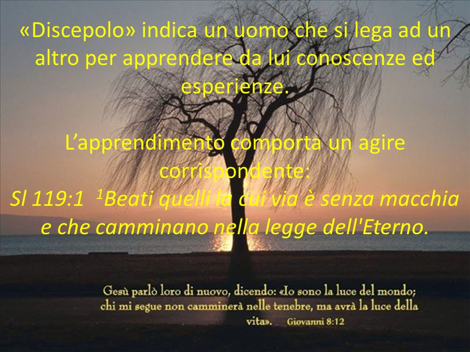 Nella Bibbia ricordiamo non solo singoli, ma anche gruppi di discepoli: di Giovanni Battista, di Mosè (Gv 9:28), ecc.