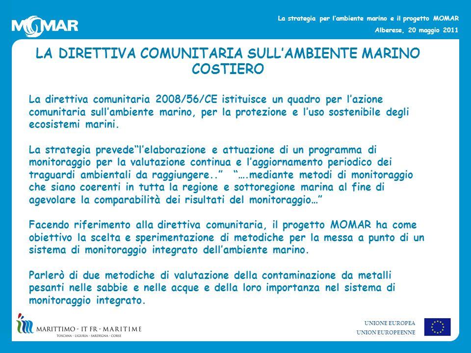 UNIONE EUROPEA UNION EUROPEENNE La strategia per lambiente marino e il progetto MOMAR Alberese, 20 maggio 2011