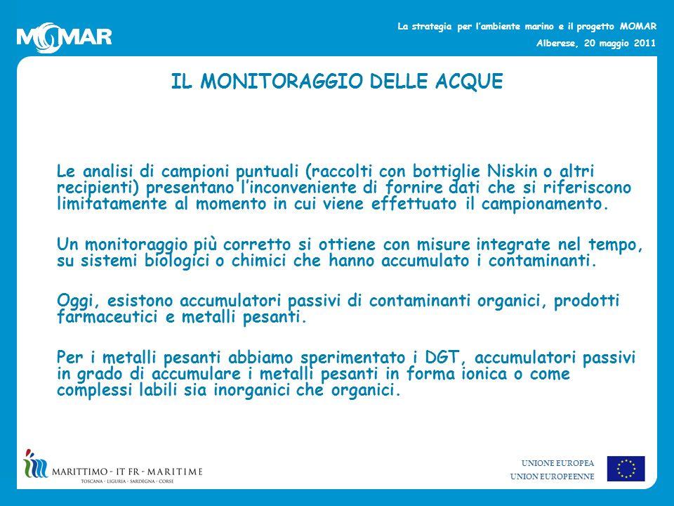 UNIONE EUROPEA UNION EUROPEENNE La strategia per lambiente marino e il progetto MOMAR Alberese, 20 maggio 2011 Per laccumulo della maggior parte dei metalli pesanti viene impiegata la resina Chelex 100.