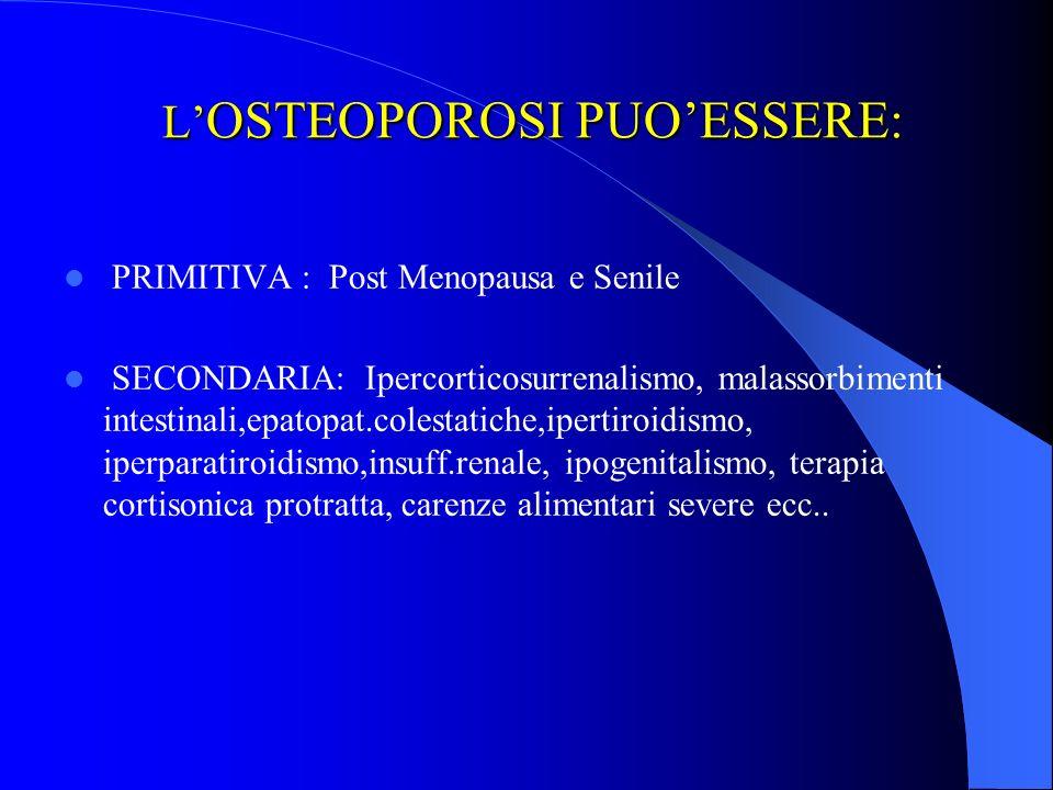 L OSTEOPOROSI PUOESSERE: L OSTEOPOROSI PUOESSERE: PRIMITIVA : Post Menopausa e Senile SECONDARIA: Ipercorticosurrenalismo, malassorbimenti intestinali,epatopat.colestatiche,ipertiroidismo, iperparatiroidismo,insuff.renale, ipogenitalismo, terapia cortisonica protratta, carenze alimentari severe ecc..
