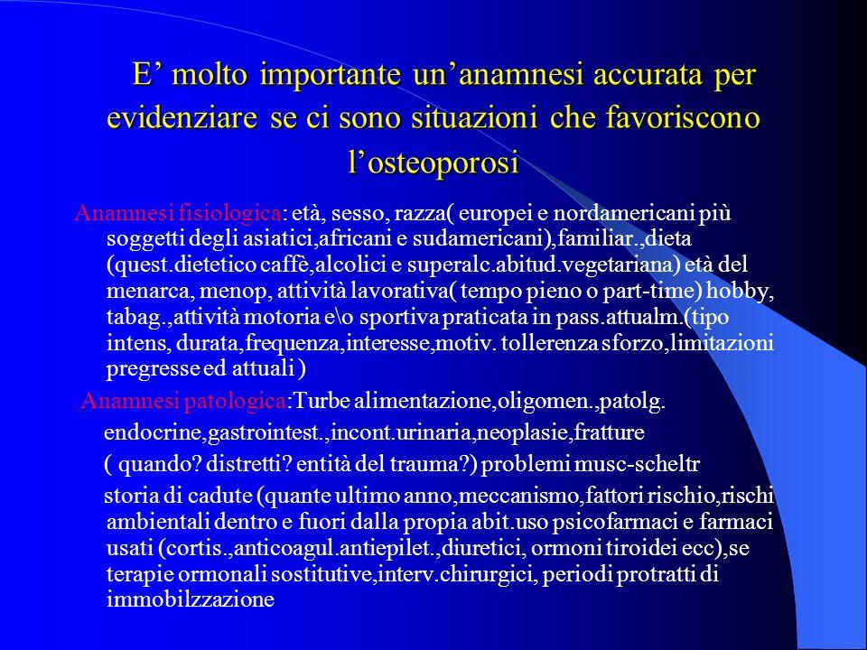 L OSTEOPOROSI PUOESSERE: L OSTEOPOROSI PUOESSERE: PRIMITIVA : Post Menopausa e Senile SECONDARIA: Ipercorticosurrenalismo, malassorbimenti intestinali