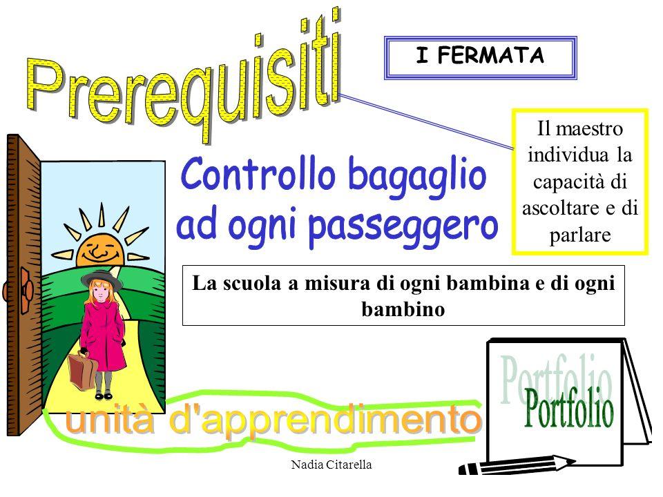 Nadia Citarella I FERMATA La scuola a misura di ogni bambina e di ogni bambino Il maestro individua la capacità di ascoltare e di parlare