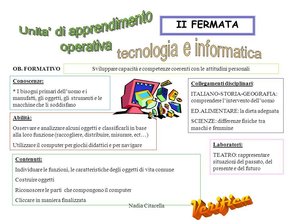 Nadia Citarella Abilità: Osservare e analizzare alcuni oggetti e classificarli in base alla loro funzione (raccogliere, distribuire, misurare, ect…) Utilizzare il computer per giochi didattici e per navigare II FERMATA OB.