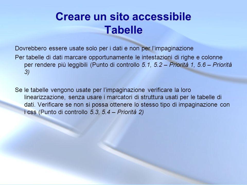 Creare un sito accessibile Tabelle Dovrebbero essere usate solo per i dati e non per limpaginazione Per tabelle di dati marcare opportunamente le inte