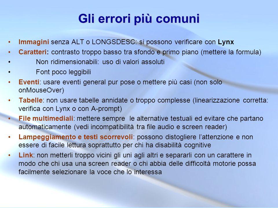 Gli errori più comuni Immagini senza ALT o LONGSDESC: si possono verificare con Lynx Caratteri: contrasto troppo basso tra sfondo e primo piano (mette