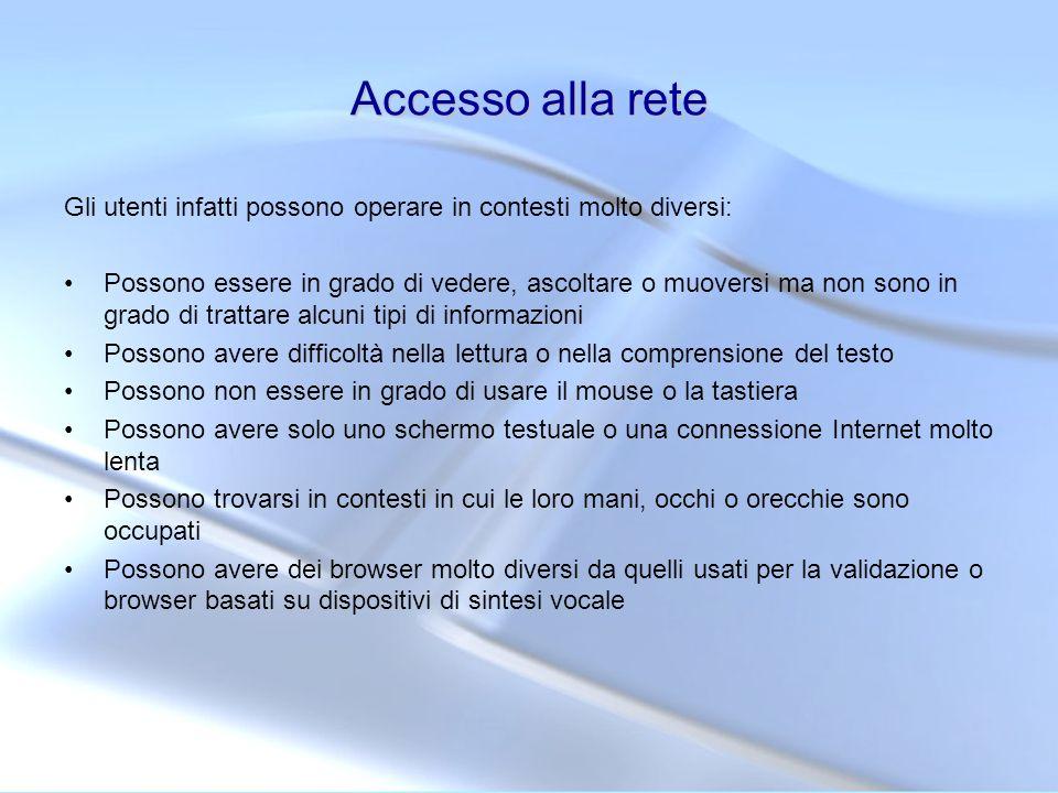 Strumenti specifici Strumenti in linea che servono per verificare gli aspetti di correttezza sintattica delle pagine Servizio di validazione del W3C per la correttezza sintattica delle pagine: http://validator.w3.org/ http://validator.w3.org/ Servizio di validazione in italiano per i CSS: http://jigsaw.w3.org/css- validator/http://jigsaw.w3.org/css- validator/ Il servizio in linea permette di valicare sia fogli di stile presenti su un server (indicando lURL) che per upload