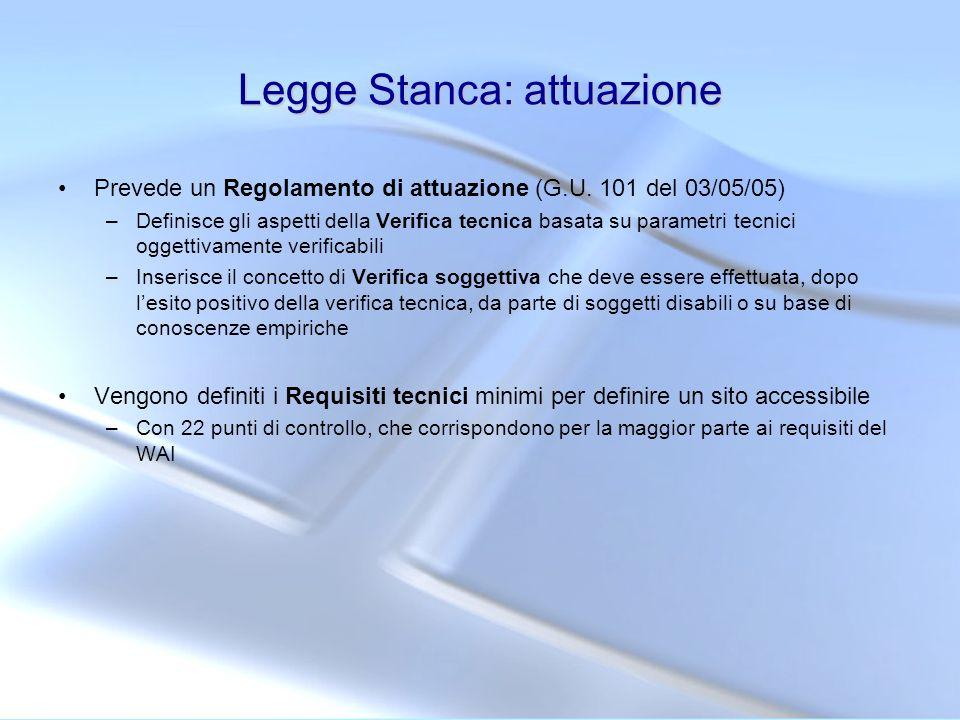 Regolamento di attuazione della legge Stanca 5 marzo 2005 Art.