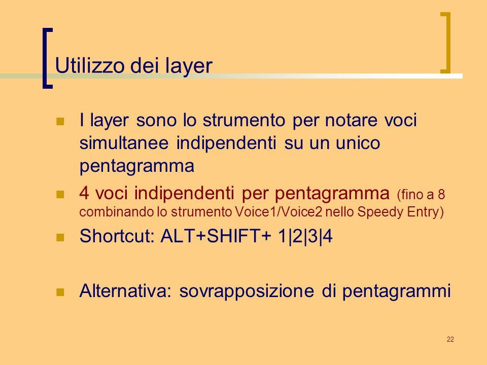 22 Utilizzo dei layer I layer sono lo strumento per notare voci simultanee indipendenti su un unico pentagramma 4 voci indipendenti per pentagramma (f
