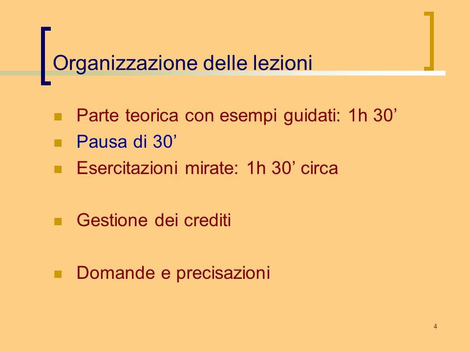 4 Organizzazione delle lezioni Parte teorica con esempi guidati: 1h 30 Pausa di 30 Esercitazioni mirate: 1h 30 circa Gestione dei crediti Domande e pr