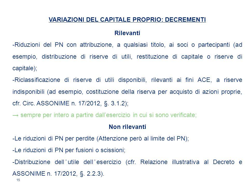 15 VARIAZIONI DEL CAPITALE PROPRIO: DECREMENTI Rilevanti -Riduzioni del PN con attribuzione, a qualsiasi titolo, ai soci o partecipanti (ad esempio, d