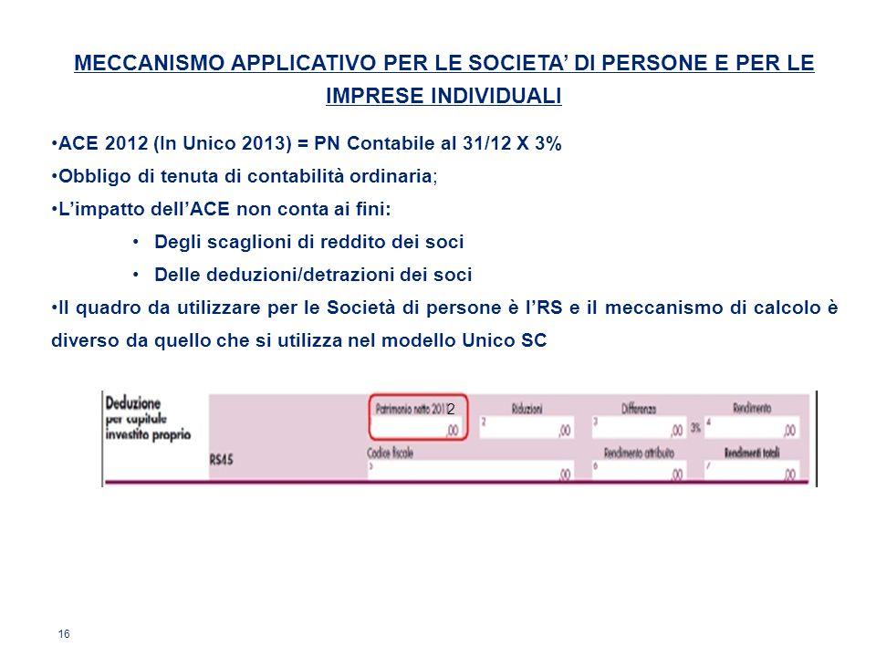16 MECCANISMO APPLICATIVO PER LE SOCIETA DI PERSONE E PER LE IMPRESE INDIVIDUALI ACE 2012 (In Unico 2013) = PN Contabile al 31/12 X 3% Obbligo di tenu