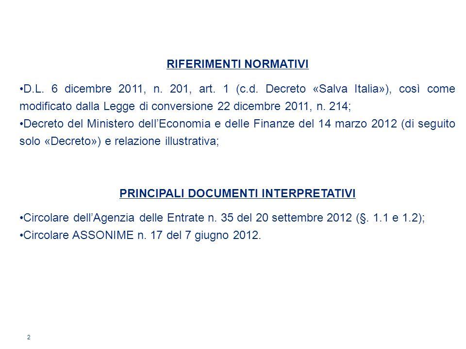 2 RIFERIMENTI NORMATIVI D.L. 6 dicembre 2011, n. 201, art. 1 (c.d. Decreto «Salva Italia»), così come modificato dalla Legge di conversione 22 dicembr