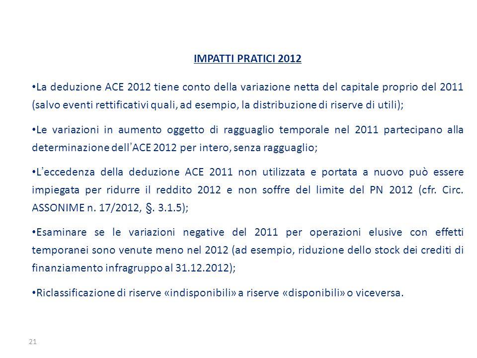 21 IMPATTI PRATICI 2012 La deduzione ACE 2012 tiene conto della variazione netta del capitale proprio del 2011 (salvo eventi rettificativi quali, ad e