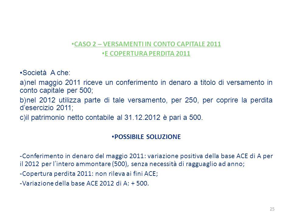 CASO 2 – VERSAMENTI IN CONTO CAPITALE 2011 E COPERTURA PERDITA 2011 Società A che: a)nel maggio 2011 riceve un conferimento in denaro a titolo di vers