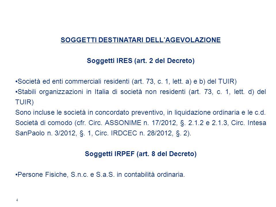4 SOGGETTI DESTINATARI DELLAGEVOLAZIONE Soggetti IRES (art. 2 del Decreto) Società ed enti commerciali residenti (art. 73, c. 1, lett. a) e b) del TUI