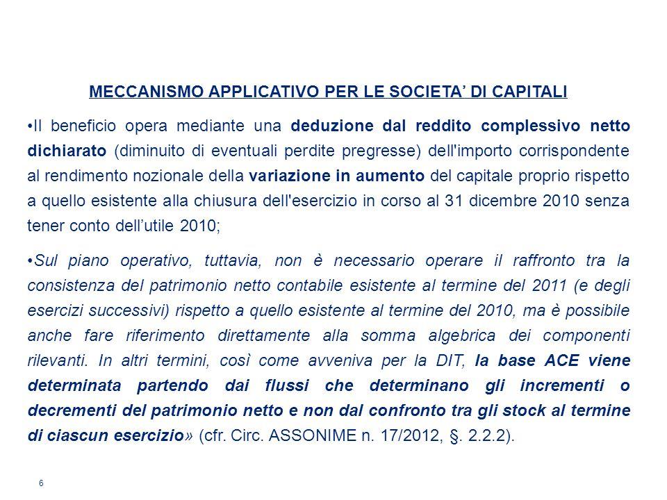 6 MECCANISMO APPLICATIVO PER LE SOCIETA DI CAPITALI Il beneficio opera mediante una deduzione dal reddito complessivo netto dichiarato (diminuito di e
