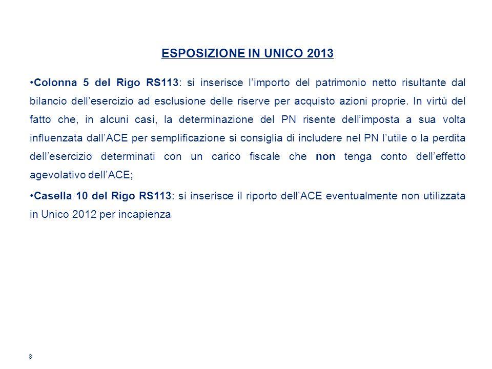 ESPOSIZIONE IN UNICO 2013 Colonna 5 del Rigo RS113: si inserisce limporto del patrimonio netto risultante dal bilancio dellesercizio ad esclusione del