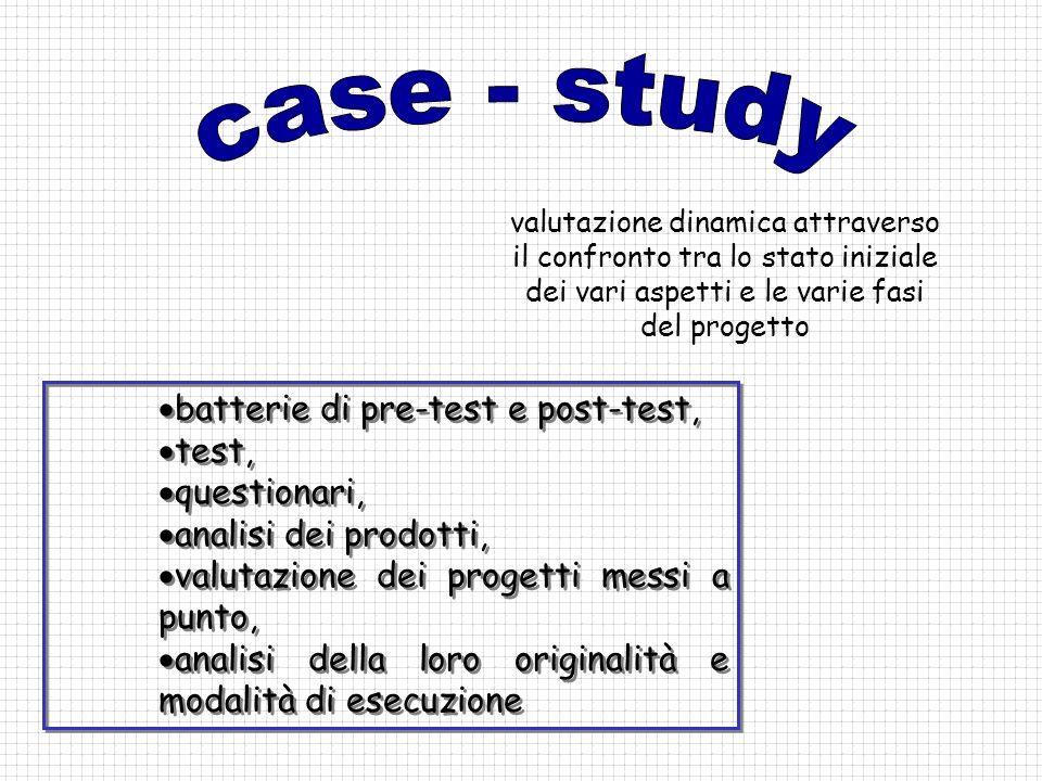 batterie di pre-test e post-test, test, questionari, analisi dei prodotti, valutazione dei progetti messi a punto, analisi della loro originalità e mo