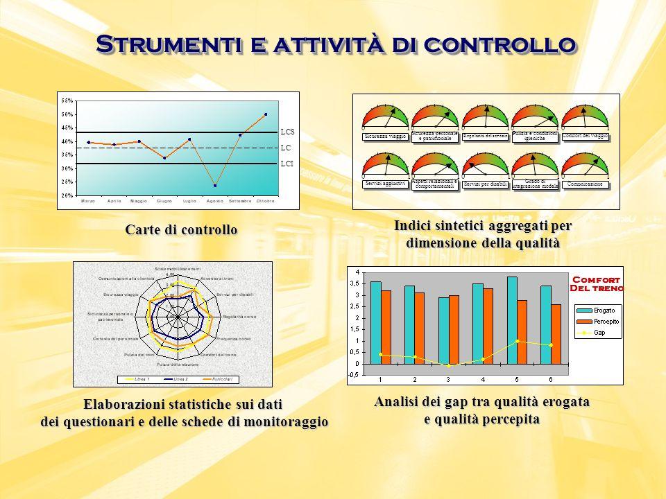 Strumenti e attività di controllo Carte di controllo Indici sintetici aggregati per dimensione della qualità Elaborazioni statistiche sui dati dei que