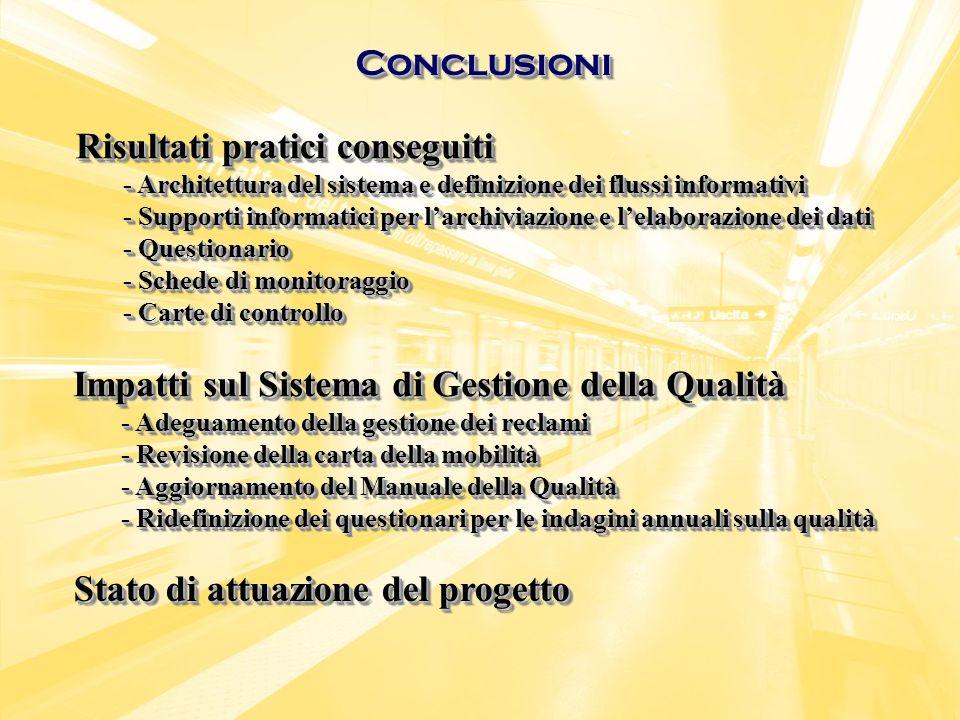 ConclusioniConclusioni Stato di attuazione del progetto Risultati pratici conseguiti - Architettura del sistema e definizione dei flussi informativi -