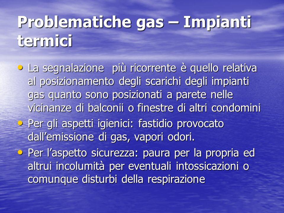 Problematiche gas – Impianti termici La segnalazione più ricorrente è quello relativa al posizionamento degli scarichi degli impianti gas quanto sono