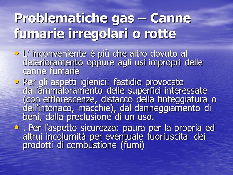 Problematiche gas – Canne fumarie irregolari o rotte L inconveniente è più che altro dovuto al deterioramento oppure agli usi impropri delle canne fum
