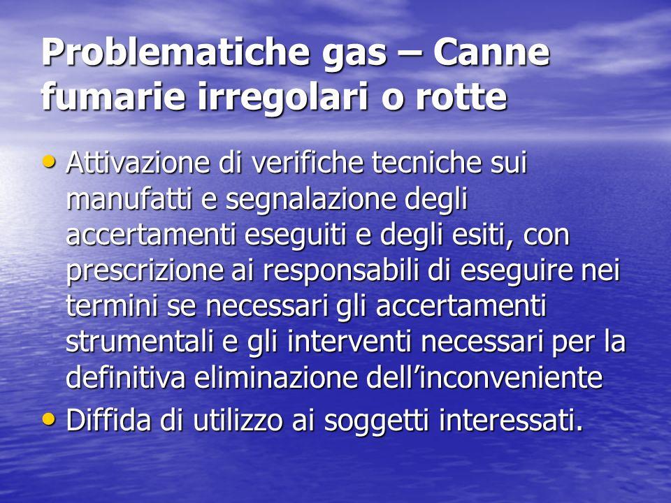 Problematiche gas – Canne fumarie irregolari o rotte Attivazione di verifiche tecniche sui manufatti e segnalazione degli accertamenti eseguiti e degl