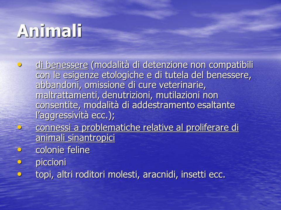 Animali di benessere (modalità di detenzione non compatibili con le esigenze etologiche e di tutela del benessere, abbandoni, omissione di cure veteri