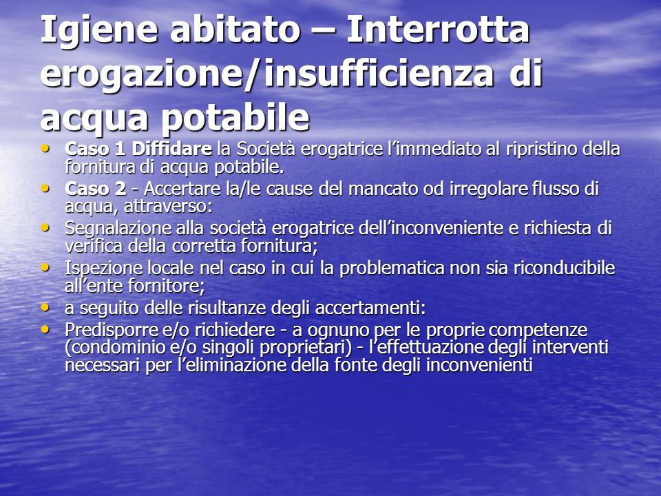 Igiene abitato – Locali impropri (interrati, cantine, garage, …) Viene segnalato (es.