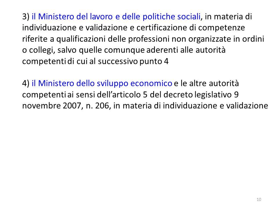 10 3) il Ministero del lavoro e delle politiche sociali, in materia di individuazione e validazione e certificazione di competenze riferite a qualific