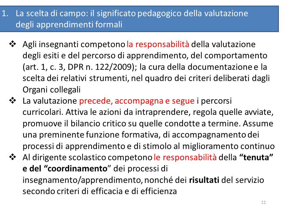 11 Agli insegnanti competono la responsabilità della valutazione degli esiti e del percorso di apprendimento, del comportamento (art. 1, c. 3, DPR n.