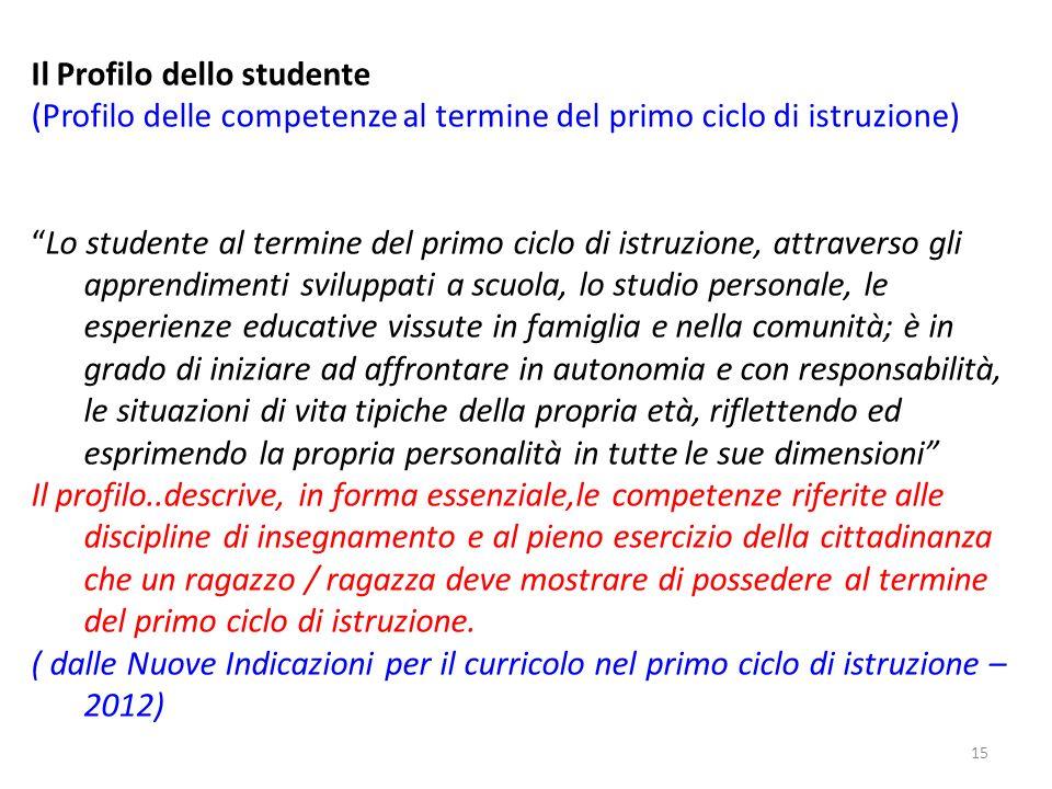 15 Il Profilo dello studente (Profilo delle competenze al termine del primo ciclo di istruzione) Lo studente al termine del primo ciclo di istruzione,