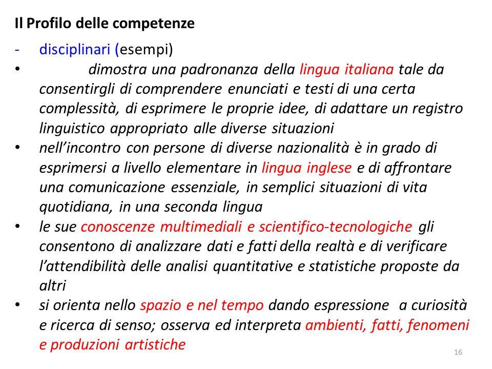16 Il Profilo delle competenze -disciplinari (esempi) dimostra una padronanza della lingua italiana tale da consentirgli di comprendere enunciati e te
