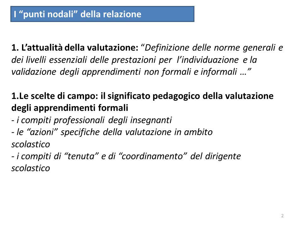 3 1.ll quadro dei riferimenti culturali e istituzionali in materia di valutazione in ambito scolastico * DPR n.