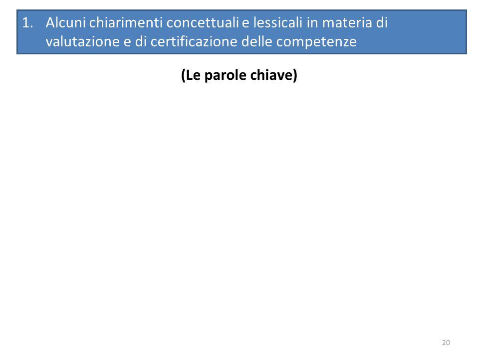 20 (Le parole chiave) 1.Alcuni chiarimenti concettuali e lessicali in materia di valutazione e di certificazione delle competenze