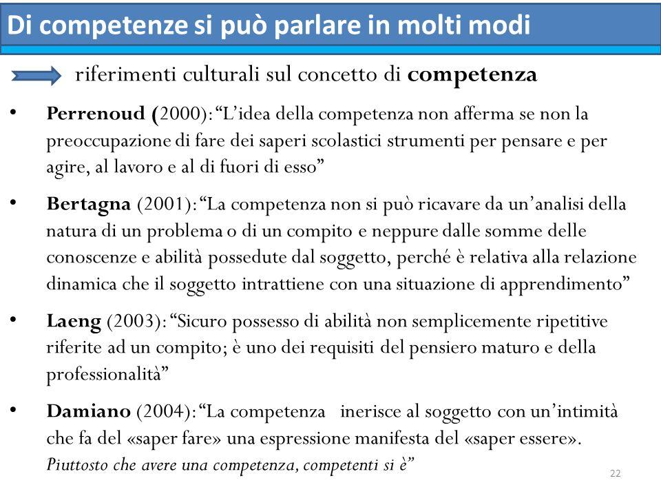 22 Di competenze si può parlare in molti modi riferimenti culturali sul concetto di competenza Perrenoud (2000): Lidea della competenza non afferma se