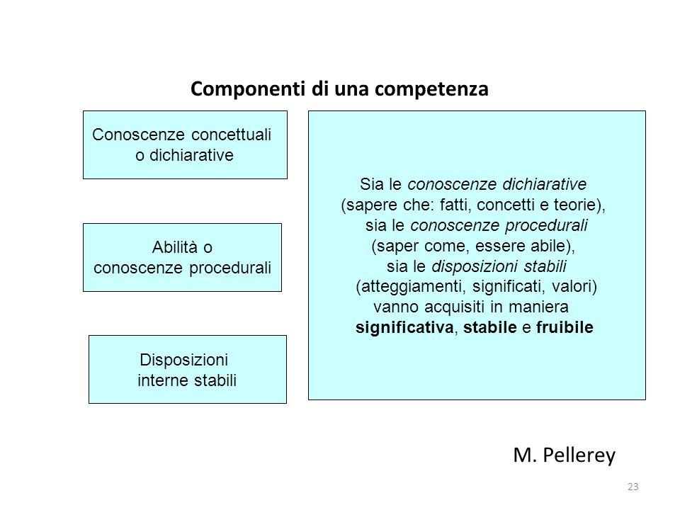 23 Componenti di una competenza Disposizioni interne stabili Abilità o conoscenze procedurali Conoscenze concettuali o dichiarative Sia le conoscenze