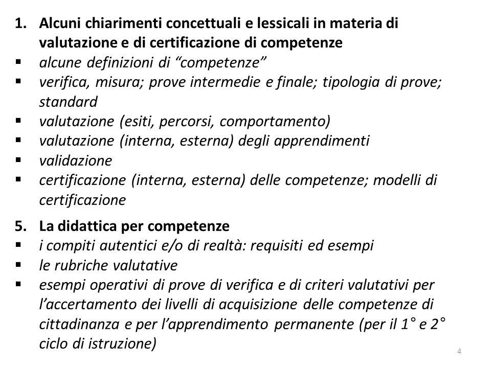 4 1.Alcuni chiarimenti concettuali e lessicali in materia di valutazione e di certificazione di competenze alcune definizioni di competenze verifica,