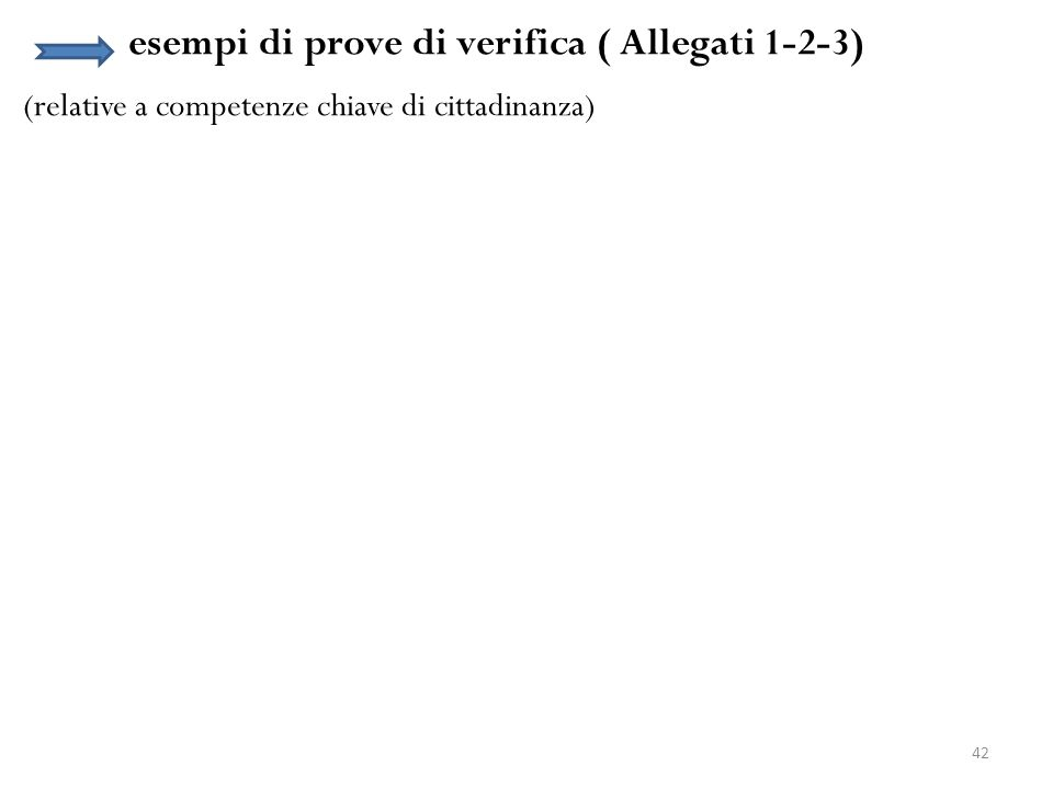 42 esempi di prove di verifica ( Allegati 1-2-3) (relative a competenze chiave di cittadinanza)