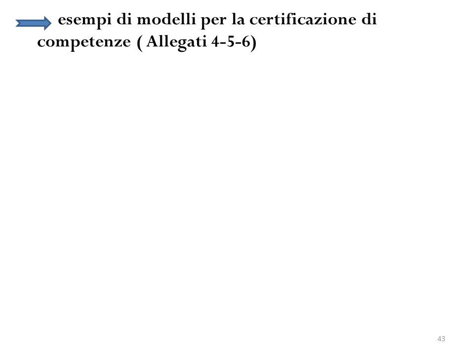 43 esempi di modelli per la certificazione di competenze ( Allegati 4-5-6)