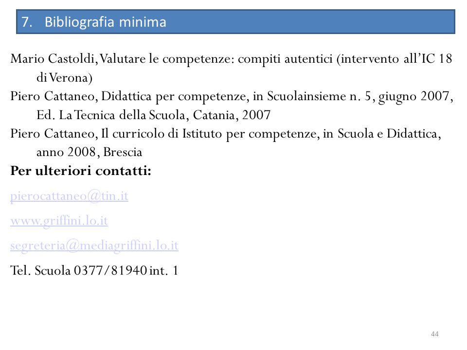 44 7.Bibliografia minima Mario Castoldi, Valutare le competenze: compiti autentici (intervento allIC 18 di Verona) Piero Cattaneo, Didattica per compe