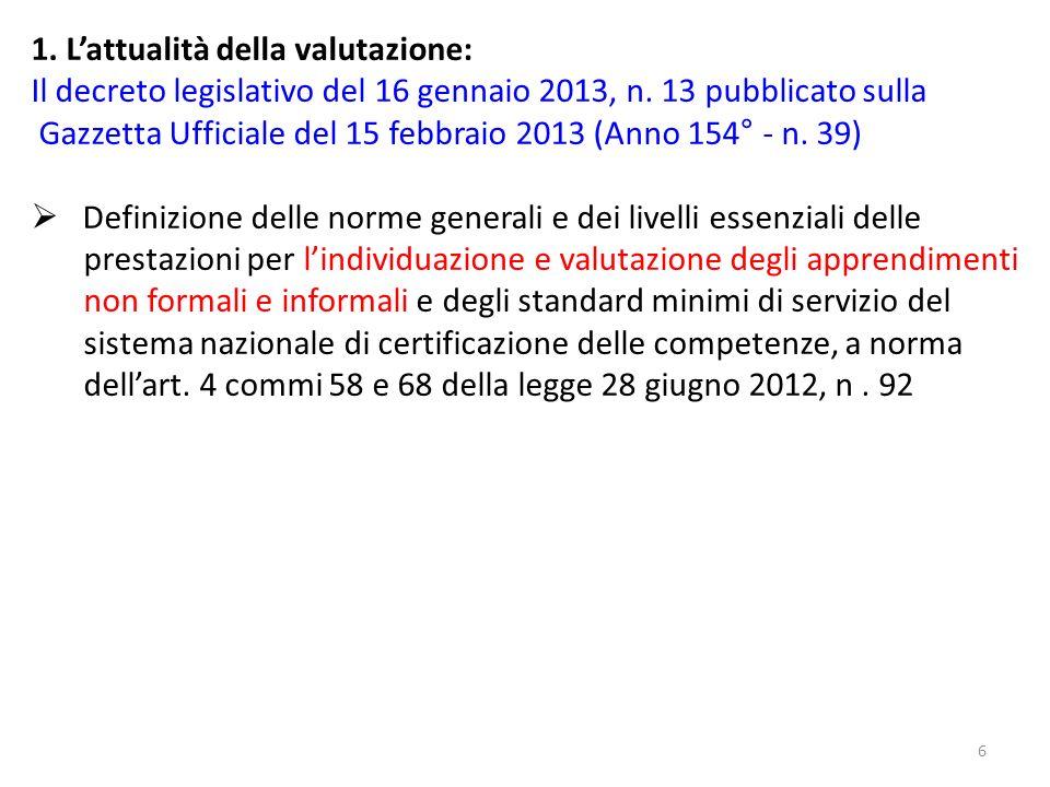 6 1. Lattualità della valutazione: Il decreto legislativo del 16 gennaio 2013, n. 13 pubblicato sulla Gazzetta Ufficiale del 15 febbraio 2013 (Anno 15