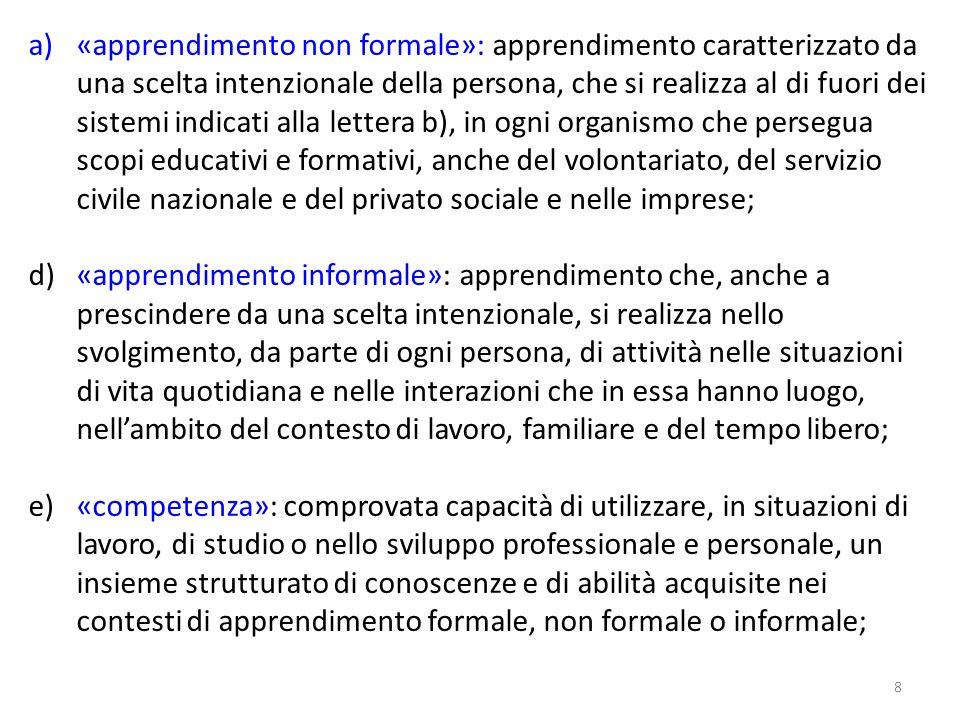 8 a)«apprendimento non formale»: apprendimento caratterizzato da una scelta intenzionale della persona, che si realizza al di fuori dei sistemi indica
