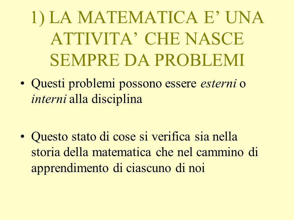 1) LA MATEMATICA E UNA ATTIVITA CHE NASCE SEMPRE DA PROBLEMI Questi problemi possono essere esterni o interni alla disciplina Questo stato di cose si