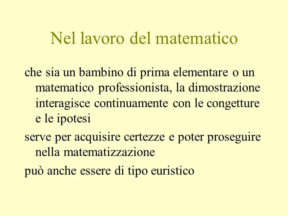 Nel lavoro del matematico che sia un bambino di prima elementare o un matematico professionista, la dimostrazione interagisce continuamente con le con
