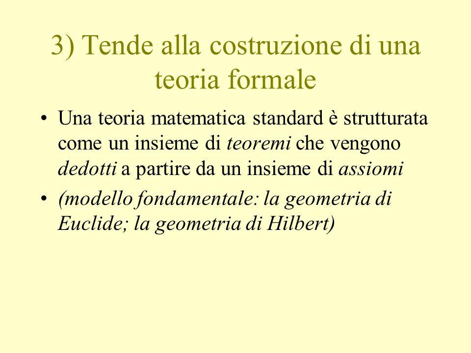 3) Tende alla costruzione di una teoria formale Una teoria matematica standard è strutturata come un insieme di teoremi che vengono dedotti a partire
