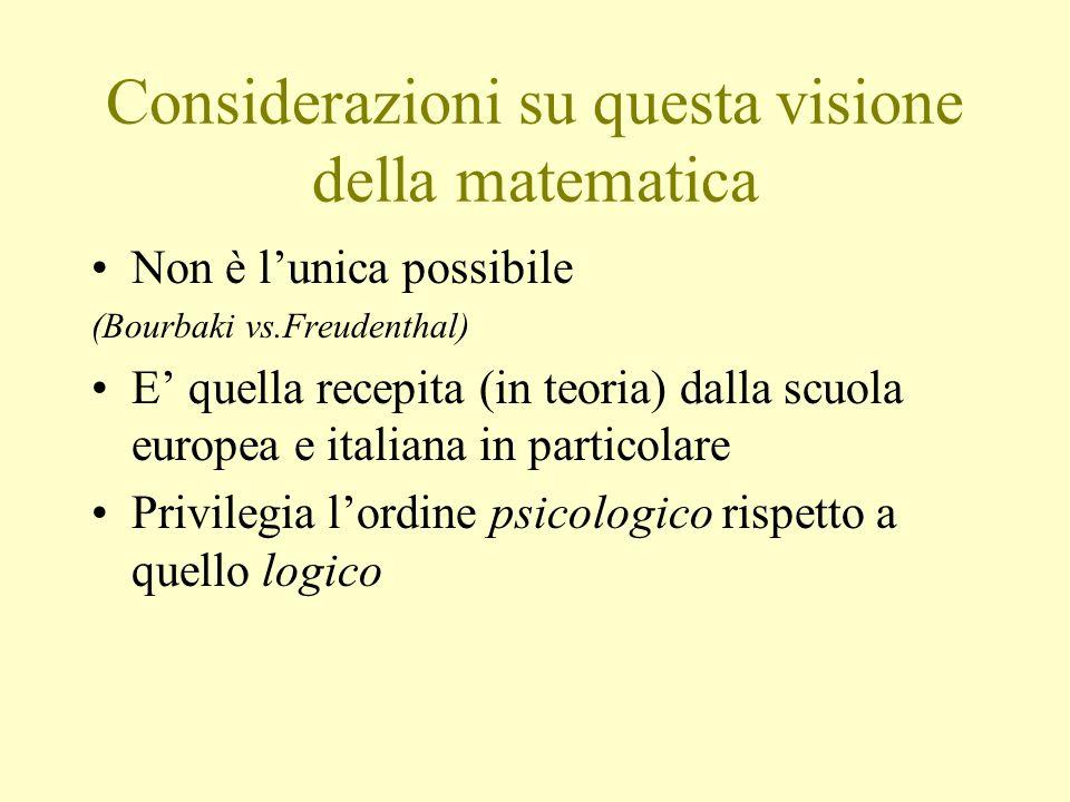 Considerazioni su questa visione della matematica Non è lunica possibile (Bourbaki vs.Freudenthal) E quella recepita (in teoria) dalla scuola europea
