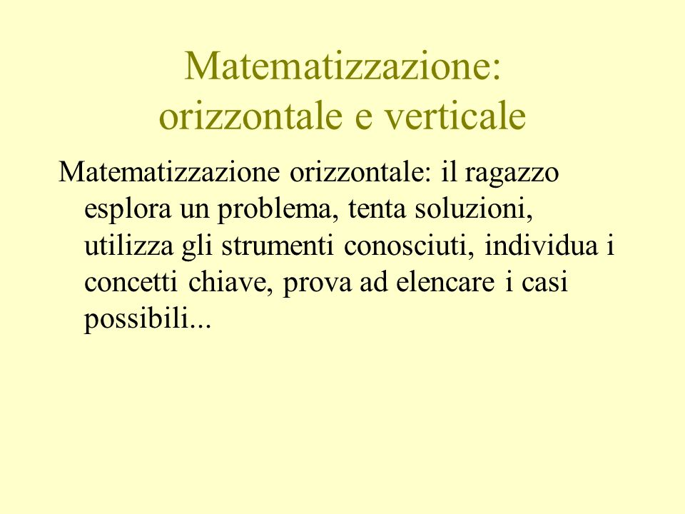 Matematizzazione: orizzontale e verticale Matematizzazione orizzontale: il ragazzo esplora un problema, tenta soluzioni, utilizza gli strumenti conosc