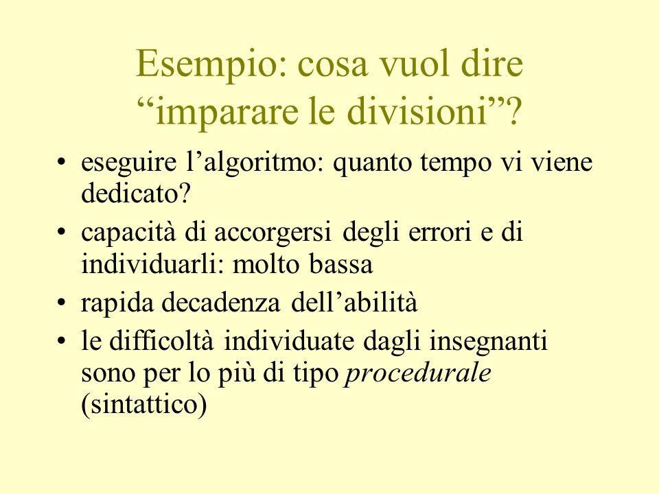 Esempio: cosa vuol dire imparare le divisioni? eseguire lalgoritmo: quanto tempo vi viene dedicato? capacità di accorgersi degli errori e di individua