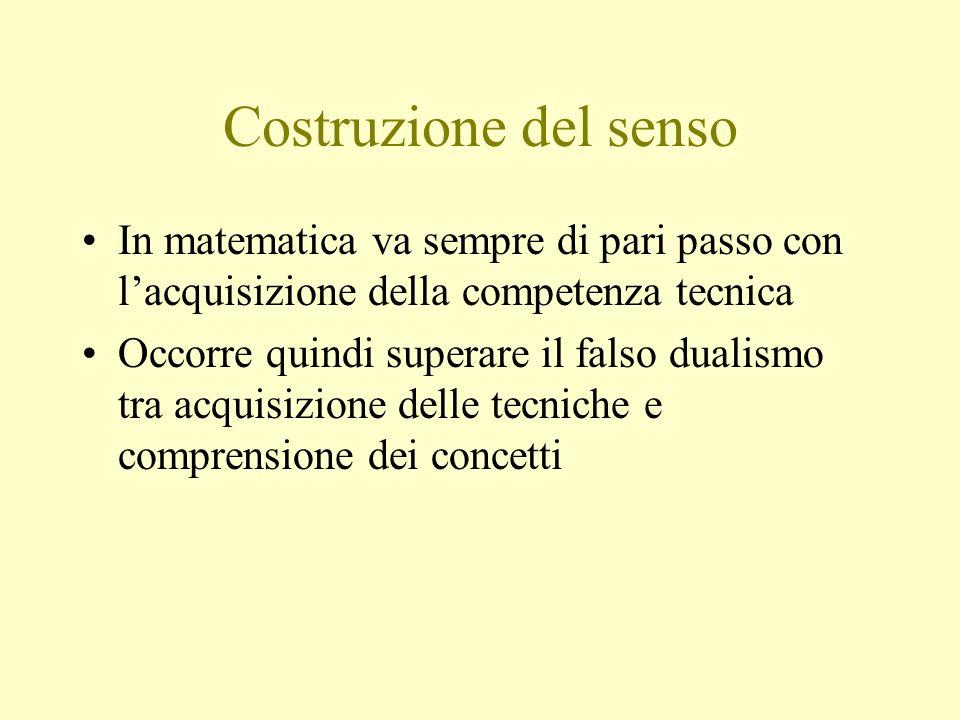 Costruzione del senso In matematica va sempre di pari passo con lacquisizione della competenza tecnica Occorre quindi superare il falso dualismo tra a